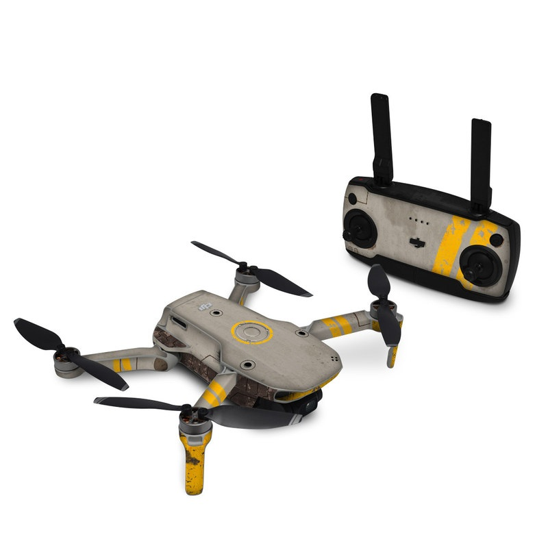 DJI Mini SE Skin design of Yellow, Wall, Line, Orange, Design, Concrete, Font, Architecture, Parallel, Wood with gray, yellow, red, black colors