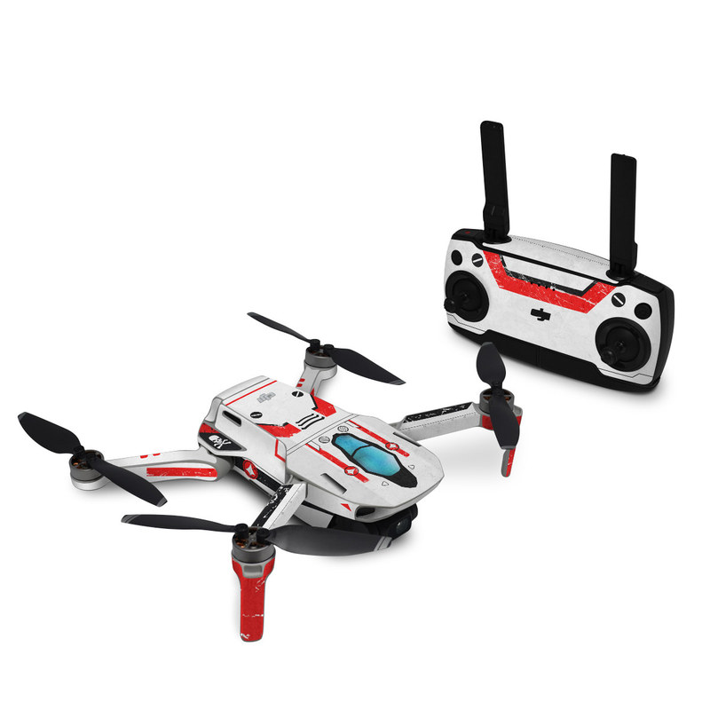 DJI Mini SE Skin design of Floppy disk, Technology, Electric red, Fictional character with white, red, black, gray colors