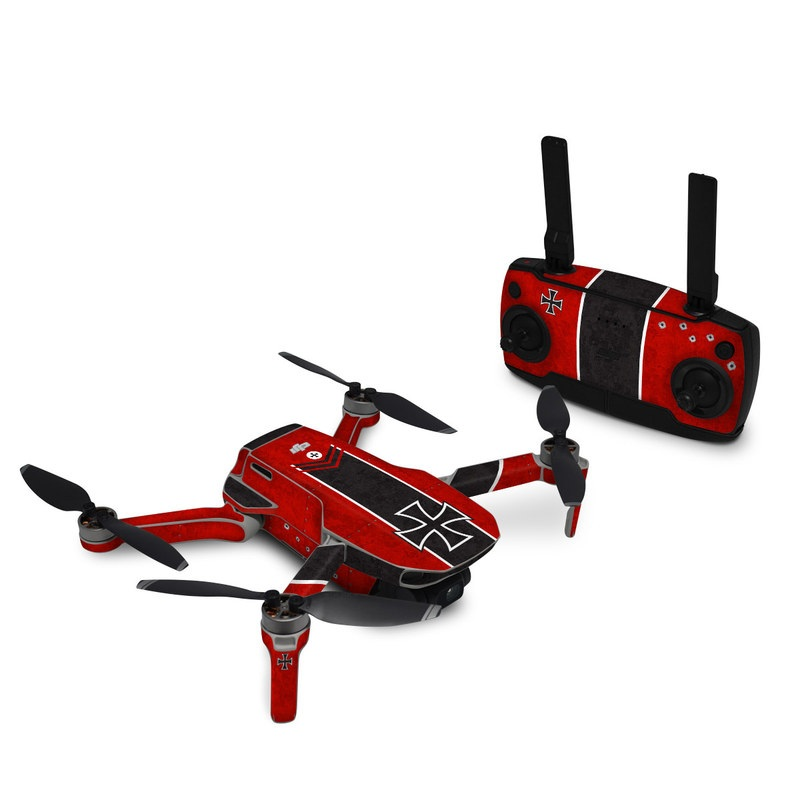 DJI Mini SE Skin design of Bullet, Holes, War, Red, Text, Carmine, Colorfulness, Maroon, Symbol, Coquelicot with red, black, white, gray colors