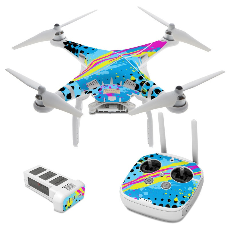 DJI Phantom 3 Skin design of Blue, Colorfulness, Graphic design, Pattern, Water, Line, Design, Graphics, Illustration, Visual arts with blue, black, yellow, pink colors