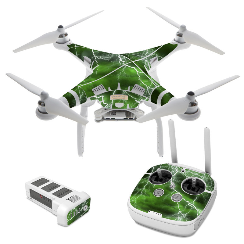 DJI Phantom 3 Skin design of Thunderstorm, Thunder, Lightning, Nature, Green, Water, Sky, Atmosphere, Atmospheric phenomenon, Daytime with green, black, white colors