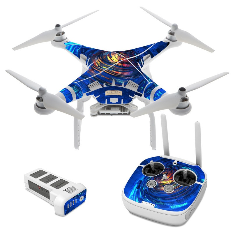 DJI Phantom 3 Skin design of Blue, Water, Circle, Vortex, Electric blue, Wave, Liquid, Graphics, Pattern, Colorfulness with blue, orange, yellow colors