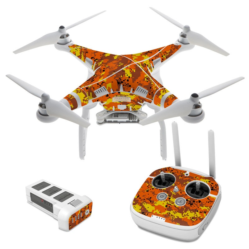 Digital Orange Camo DJI Phantom 3 Skin