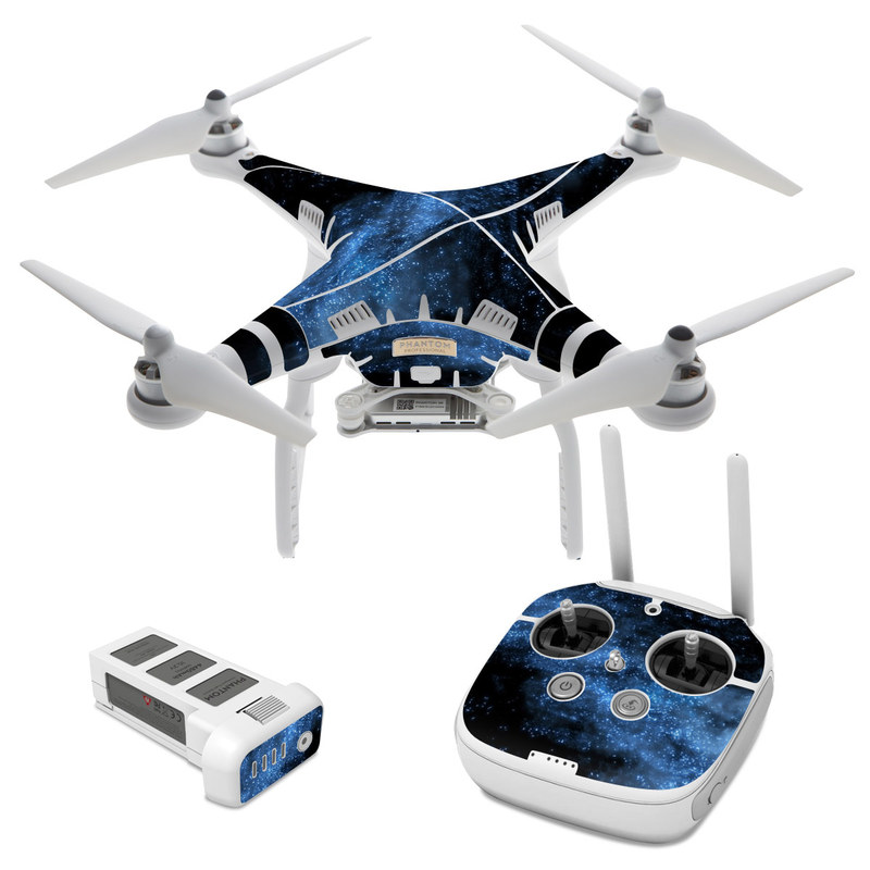 DJI Phantom 3 Skin design of Sky, Atmosphere, Black, Blue, Outer space, Atmospheric phenomenon, Astronomical object, Darkness, Universe, Space with black, blue colors