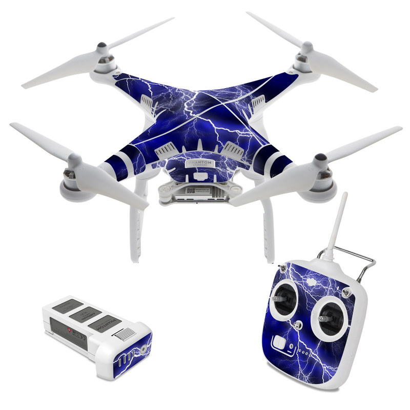 DJI Phantom 3 Standard Skin design of Thunder, Lightning, Thunderstorm, Sky, Nature, Electric blue, Atmosphere, Daytime, Blue, Atmospheric phenomenon with blue, black, white colors