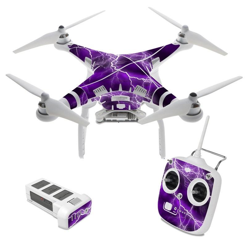 DJI Phantom 3 Standard Skin design of Thunder, Lightning, Thunderstorm, Sky, Nature, Purple, Violet, Atmosphere, Storm, Electric blue with purple, black, white colors