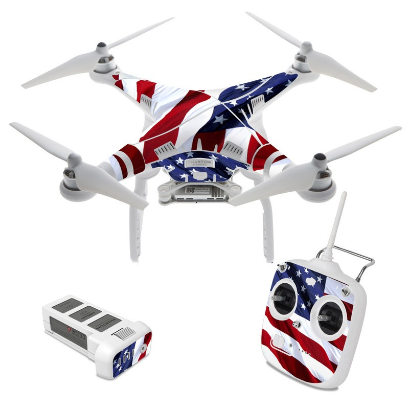 DJI Phantom 3 Standard Skin design of Flag, Flag of the united states, Flag Day (USA), Veterans day, Memorial day, Holiday, Independence day, Event with red, blue, white colors
