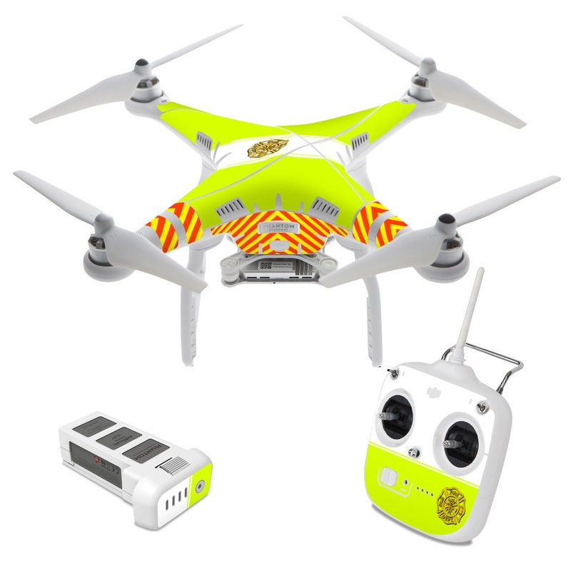 DJI Phantom 3 Standard Skin design of Yellow, Line, Font, Military rank with white, green, red, yellow colors
