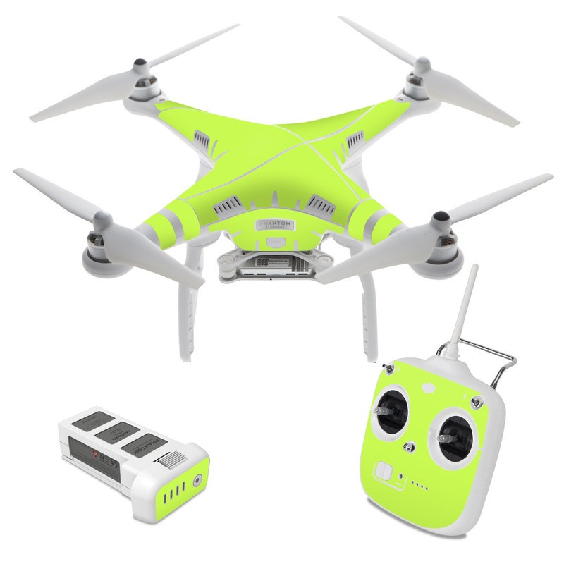 DJI Phantom 3 Standard Skin design of Green, Yellow, Text, Leaf, Font, Grass with green colors