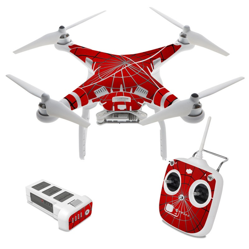 DJI Phantom 3 Standard Skin design of Red, Symmetry, Circle, Pattern, Line with red, black, gray colors