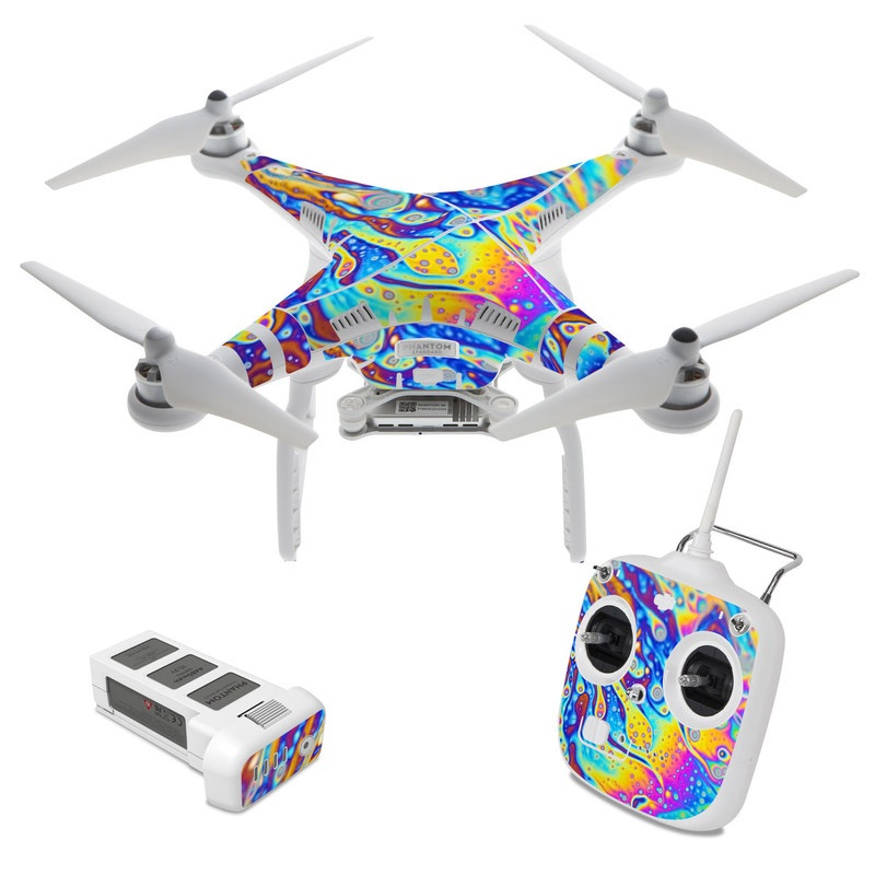 DJI Phantom 3 Standard Skin design of Psychedelic art, Blue, Pattern, Art, Visual arts, Water, Organism, Colorfulness, Design, Textile with gray, blue, orange, purple, green colors