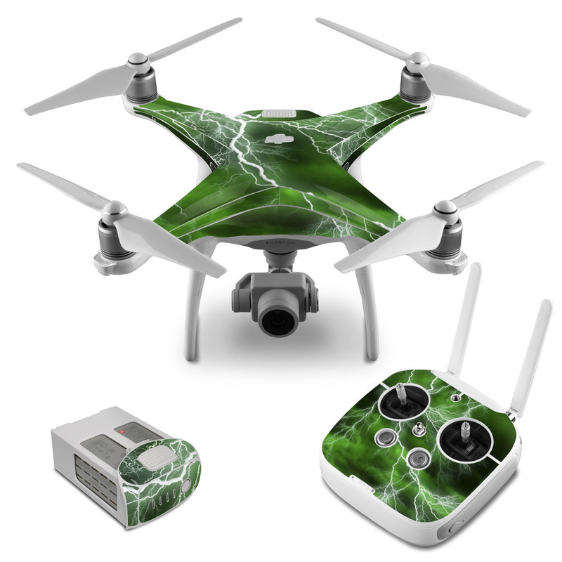 DJI Phantom 4 Skin design of Thunderstorm, Thunder, Lightning, Nature, Green, Water, Sky, Atmosphere, Atmospheric phenomenon, Daytime with green, black, white colors