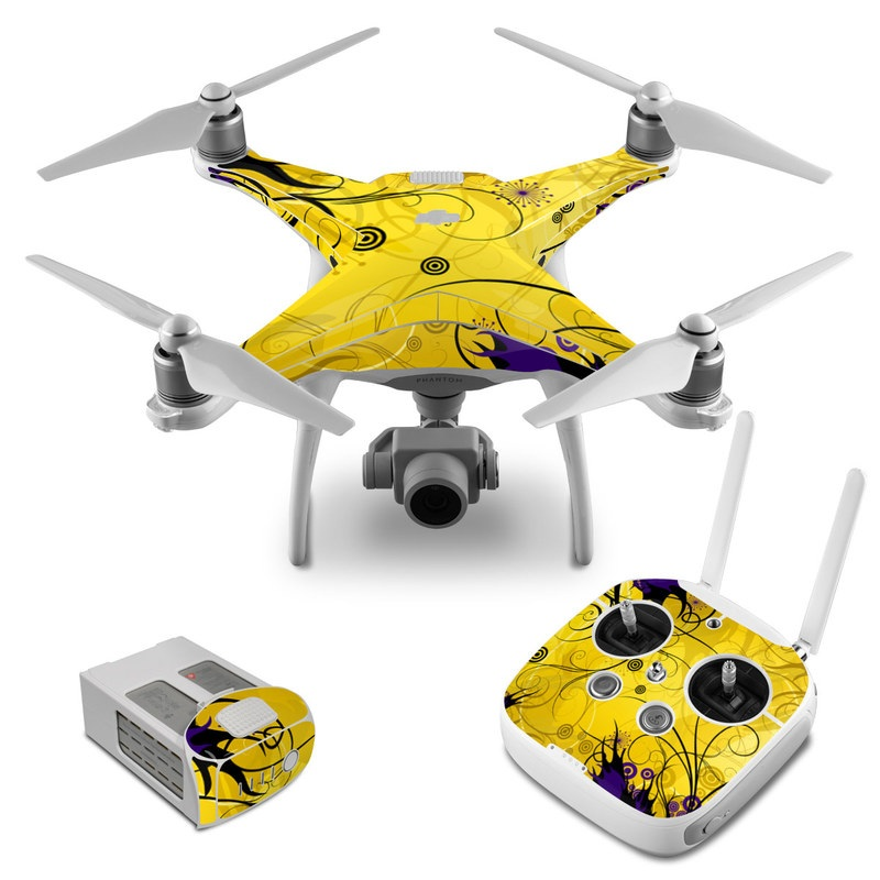 DJI Phantom 4 Skin design of Yellow, Pattern, Floral design, Purple, Graphic design, Design, Wallpaper, Art, Illustration, Visual arts with orange, yellow, black, purple colors