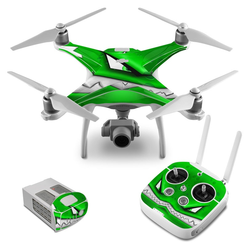 DJI Phantom 4 Skin design of Green, Font, Animation, Logo, Graphics, Games with green, white colors