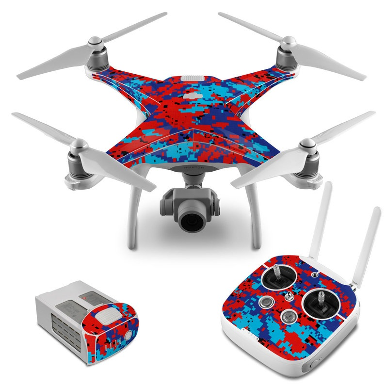 DJI Phantom 4 Skin design of Blue, Red, Pattern, Textile, Electric blue with blue, red colors