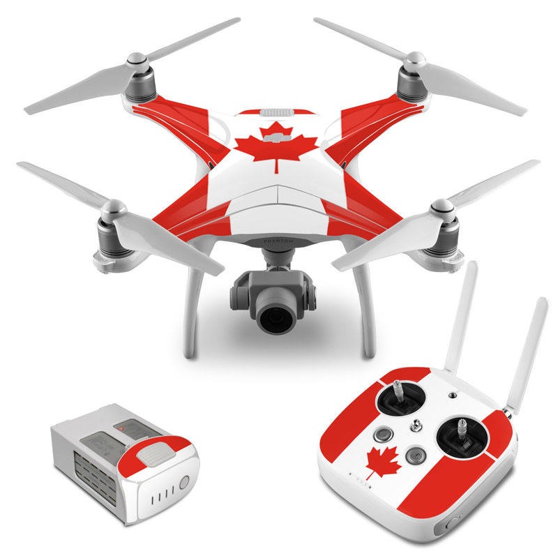 DJI Phantom 4 Skin design of Red, Maple leaf, Tree, Leaf, Woody plant, Flag, Plant, Plane, Red flag, Maple with red, white colors