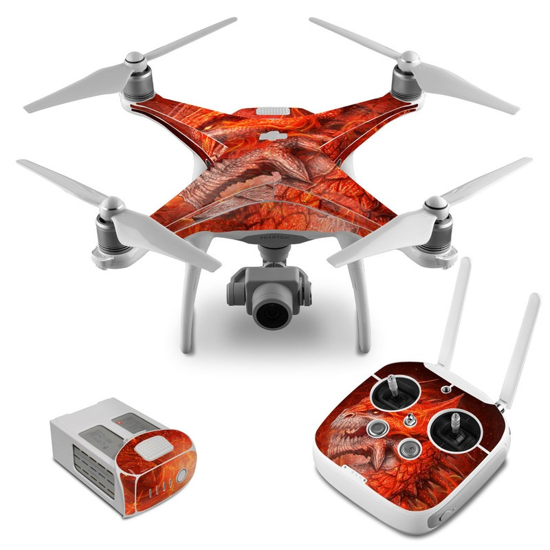DJI Phantom 4 Skin design of Fictional character, Cg artwork, Illustration, Art, Demon, Geological phenomenon, Mythical creature, Dragon, Cryptid with red, orange, yellow colors