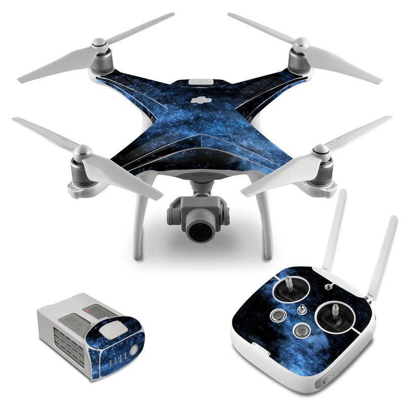 DJI Phantom 4 Skin design of Sky, Atmosphere, Black, Blue, Outer space, Atmospheric phenomenon, Astronomical object, Darkness, Universe, Space with black, blue colors