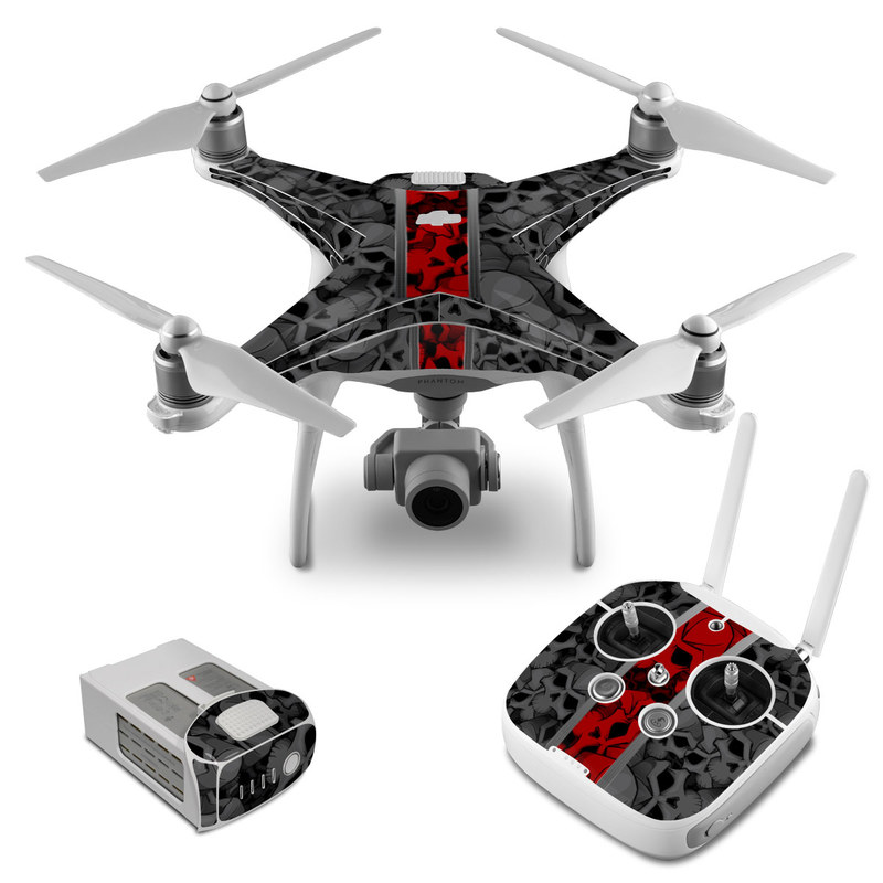 DJI Phantom 4 Skin design of Font, Text, Pattern, Design, Graphic design, Black-and-white, Monochrome, Graphics, Illustration, Art with black, red, gray colors