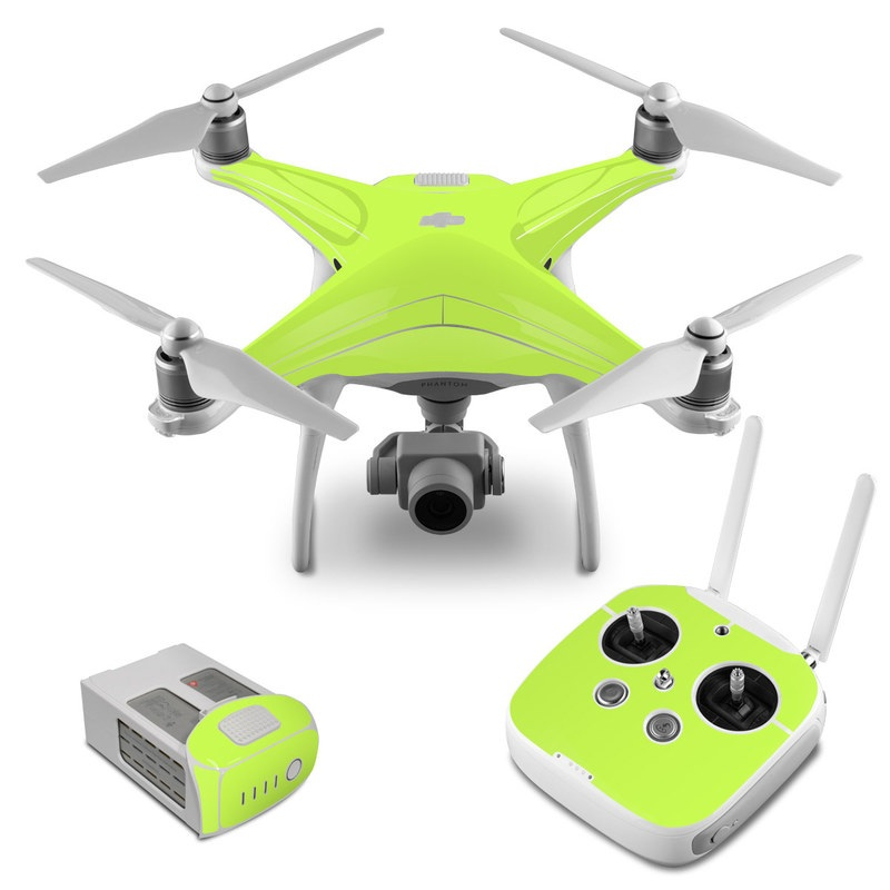 DJI Phantom 4 Skin design of Green, Yellow, Text, Leaf, Font, Grass with green colors