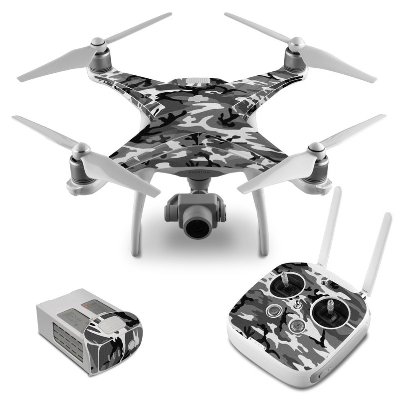 DJI Phantom 4 Skin design of Military camouflage, Pattern, Clothing, Camouflage, Uniform, Design, Textile with black, gray colors