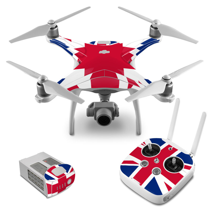 DJI Phantom 4 Skin design of Flag, Red, Line, Electric blue, Design, Font, Pattern, Parallel, Flag Day (USA) with red, white, blue colors