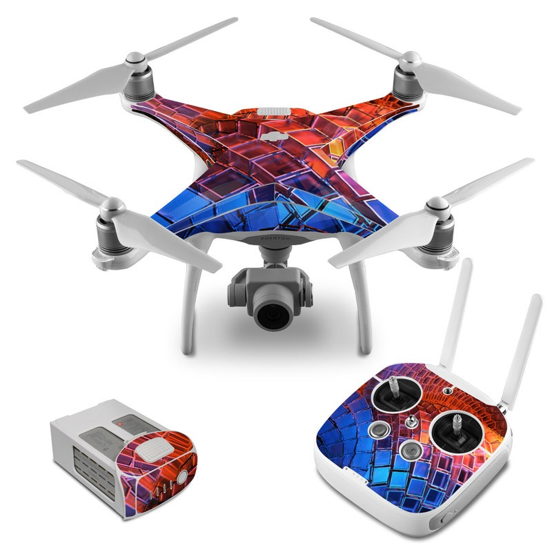 DJI Phantom 4 Skin design of Blue, Red, Orange, Light, Pattern, Architecture, Design, Fractal art, Colorfulness, Psychedelic art with black, red, blue, purple, gray colors