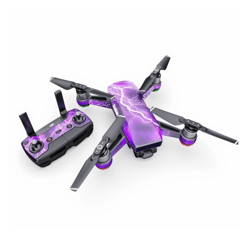 DJI Spark Skin design of Thunder, Lightning, Thunderstorm, Sky, Nature, Purple, Violet, Atmosphere, Storm, Electric blue with purple, black, white colors