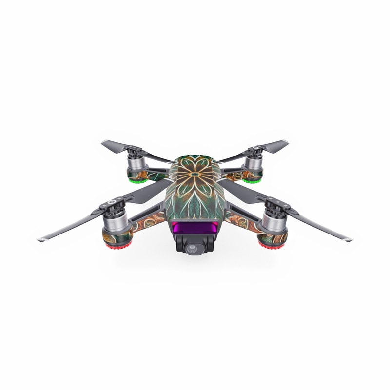 DJI Spark Skin design of Pattern, Symmetry, Textile, Art, Psychedelic art, Tapestry, Design, Visual arts, Kaleidoscope, Motif with green, orange, yellow, brown, red colors