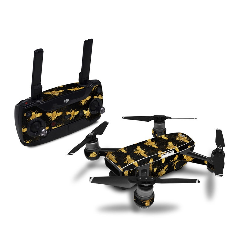 DJI Spark Skin design of Pattern, Yellow, Flower, Design, Plant, Wildflower, Textile, Metal with black, yellow colors