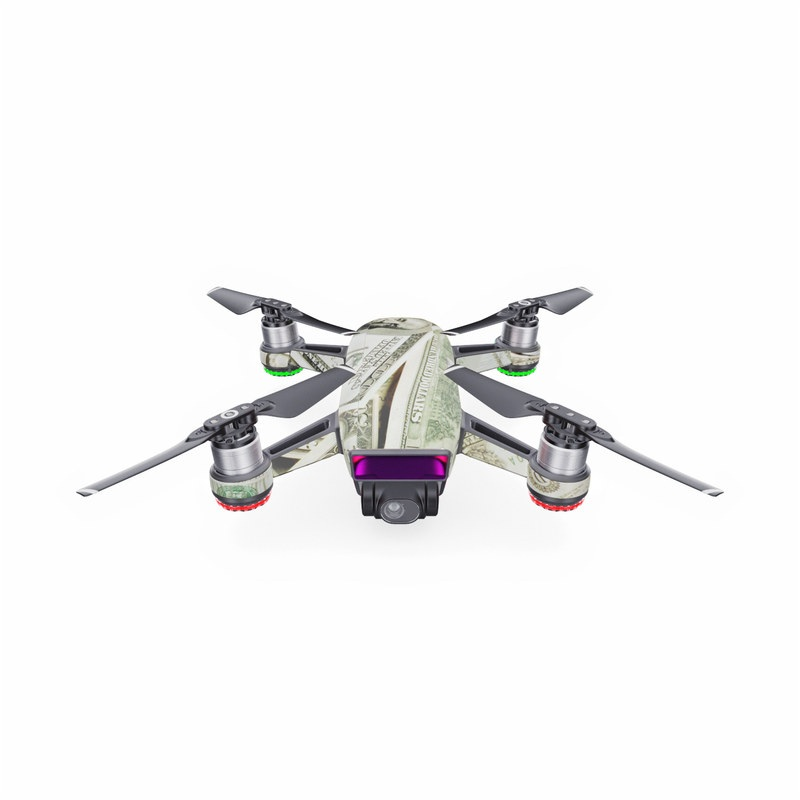 DJI Spark Skin design of Money, Cash, Currency, Banknote, Dollar, Saving, Money handling, Paper, Stock photography, Paper product with green, white, black, gray colors