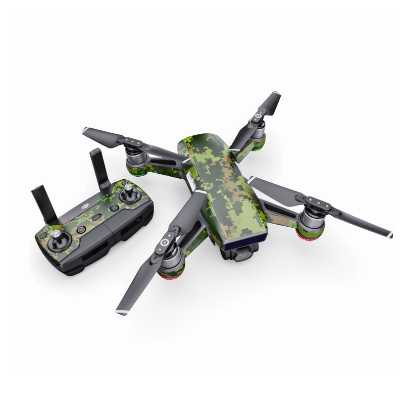 DJI Spark Skin design of Military camouflage, Green, Pattern, Uniform, Camouflage, Clothing, Design, Leaf, Plant with green, brown colors