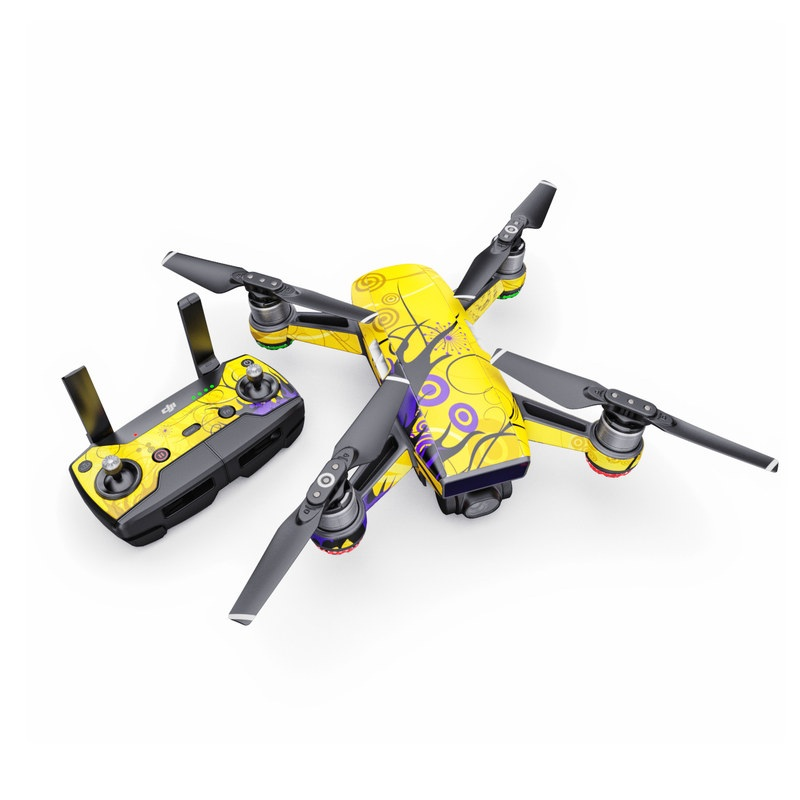 DJI Spark Skin design of Yellow, Pattern, Floral design, Purple, Graphic design, Design, Wallpaper, Art, Illustration, Visual arts with orange, yellow, black, purple colors