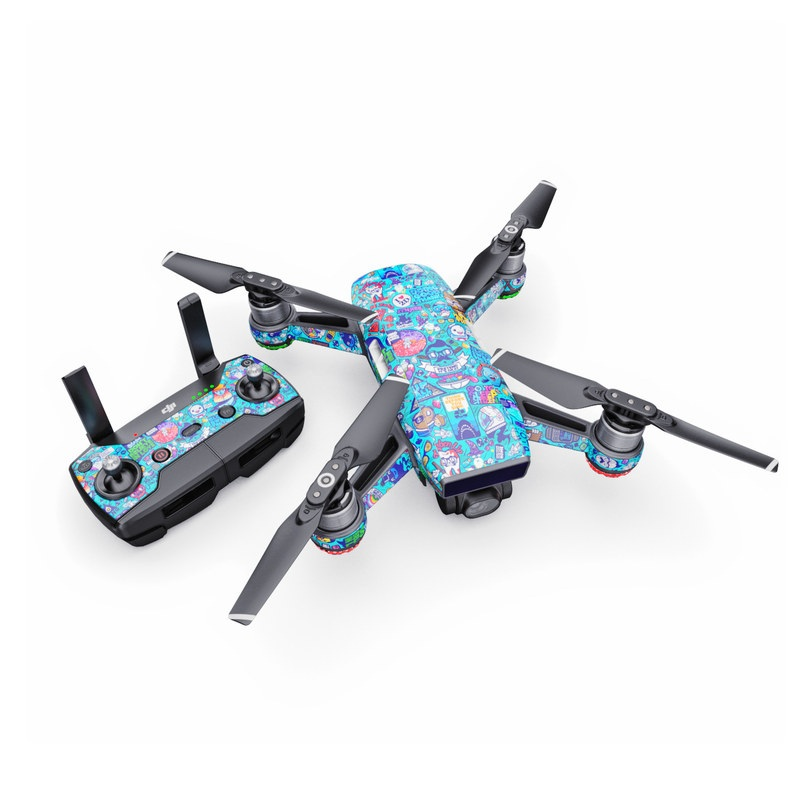 DJI Spark Skin design of Art, Visual arts, Illustration, Graphic design, Psychedelic art with blue, black, gray, red, green colors