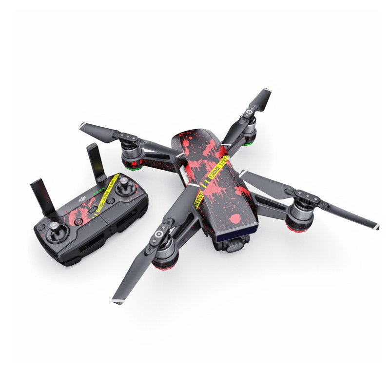 DJI Spark Skin design of Red, Black, Font, Text, Logo, Graphics, Graphic design, Room, Carmine, Fictional character with black, red, green colors