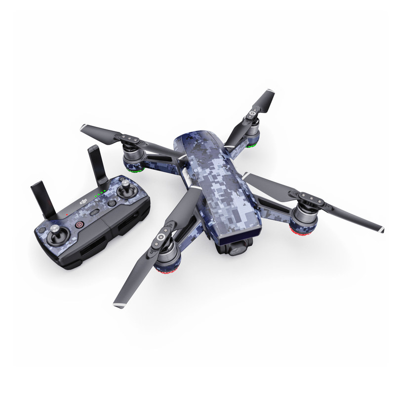 DJI Spark Skin design of Military camouflage, Black, Pattern, Blue, Camouflage, Design, Uniform, Textile, Black-and-white, Space with black, gray, blue colors