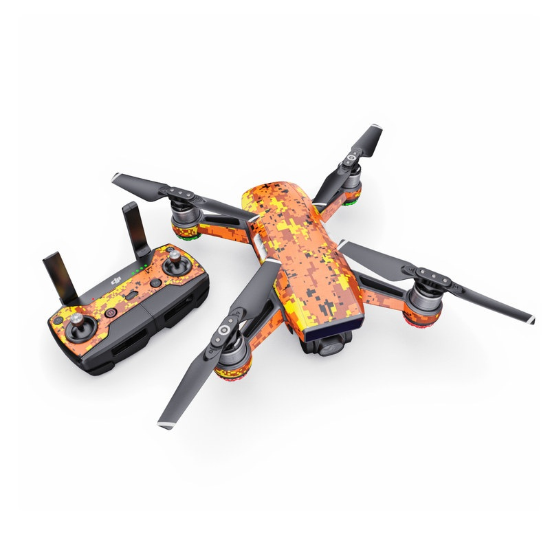 DJI Spark Skin design of Orange, Yellow, Leaf, Tree, Pattern, Autumn, Plant, Deciduous with red, green, black colors