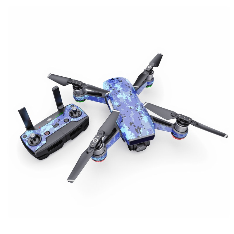 DJI Spark Skin design of Blue, Purple, Pattern, Lavender, Violet, Design with blue, gray, black colors