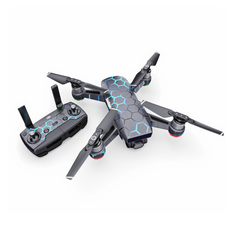 DJI Spark Skin design with black, gray, blue colors