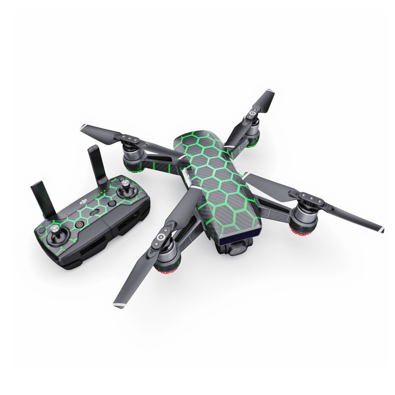 DJI Spark Skin design with black, gray, green colors
