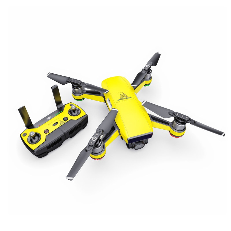 DJI Spark Skin design of Yellow, Font, Logo, Graphics, Illustration with orange, black, green colors