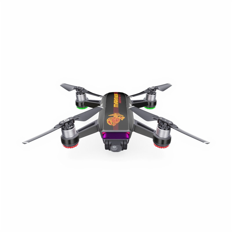 DJI Spark Skin design of Text, Font, Logo, Graphics, Fictional character, Games with black, red, orange, green colors