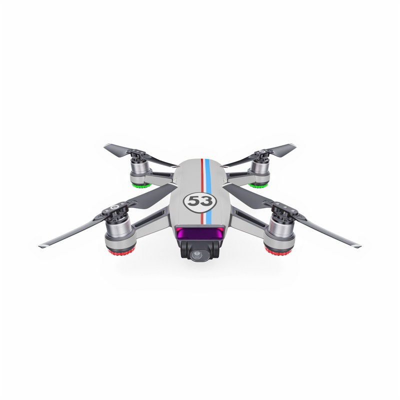 DJI Spark Skin design with gray, blue, red, white, black colors