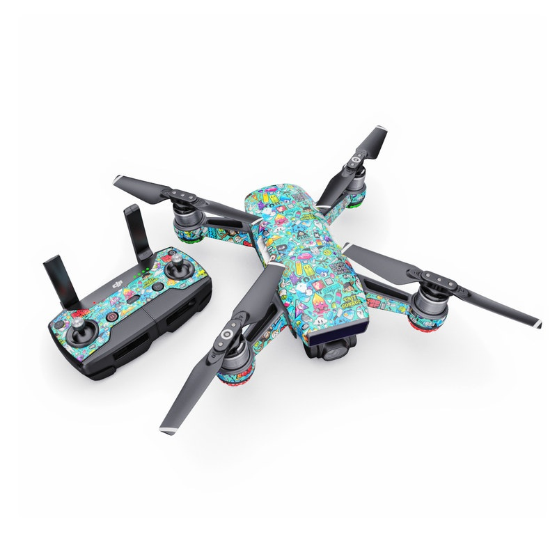 DJI Spark Skin design of Cartoon, Art, Pattern, Design, Illustration, Visual arts, Doodle, Psychedelic art with black, blue, gray, red, green colors