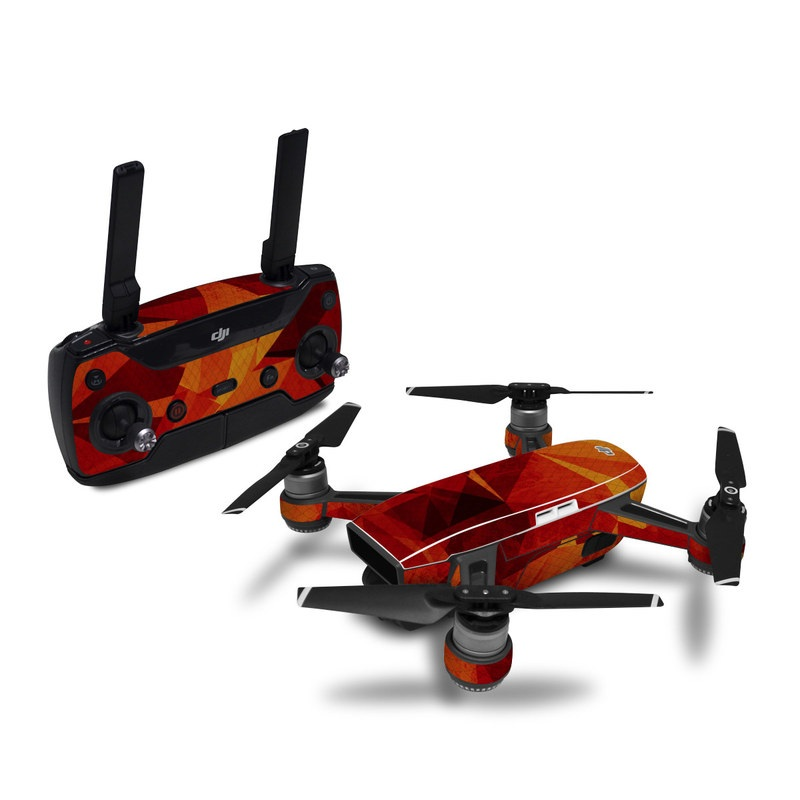 DJI Spark Skin design of Orange, Red, Yellow, Triangle, Pattern, Amber, Design, Art, Visual arts, Modern art with black, orange, yellow colors