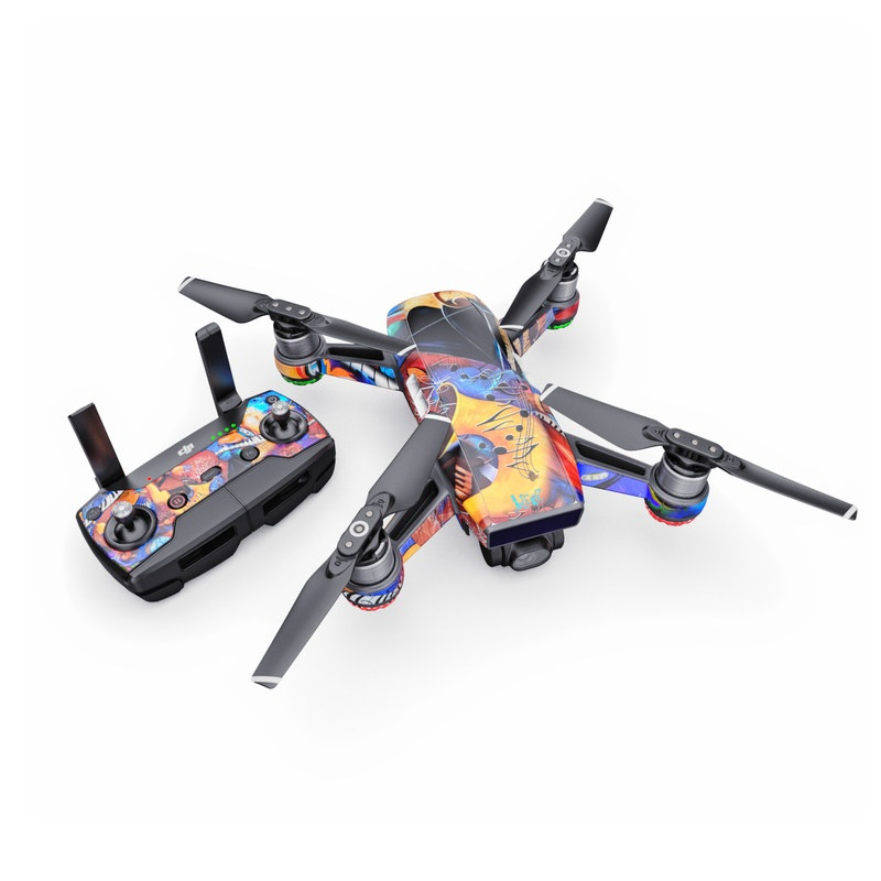 DJI Spark Skin design of Art, Graffiti, Mural, Modern art, Street art, Psychedelic art, Fictional character, Graphic design, Visual arts, Animated cartoon with black, red, blue, gray, green colors