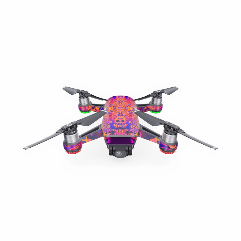 DJI Spark Skin design of Pattern, Psychedelic art, Symmetry with orange, purple, blue, pink colors