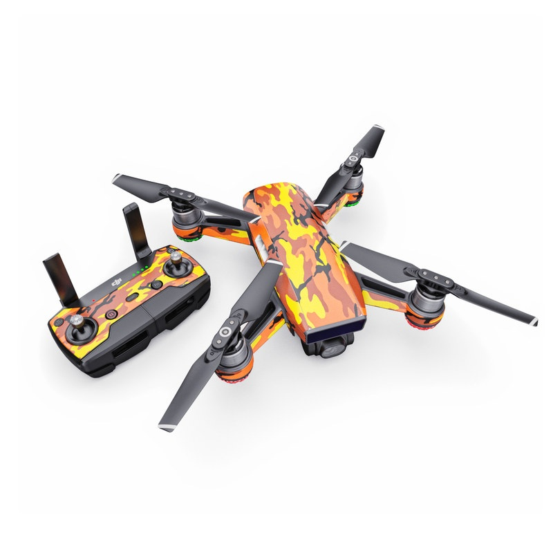 DJI Spark Skin design of Military camouflage, Orange, Pattern, Camouflage, Yellow, Brown, Uniform, Design, Tree, Wildlife with red, green, black colors