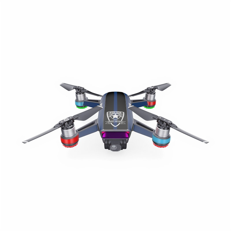 DJI Spark Skin design with black, white, blue, red colors