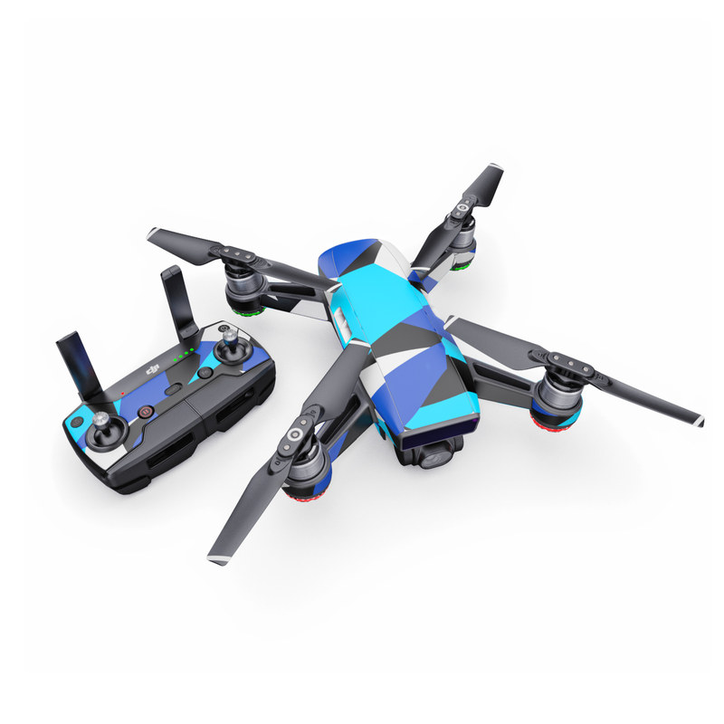 DJI Spark Skin design with blue, white, black colors